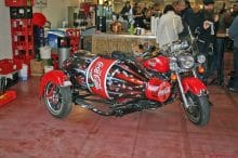 cola custom bike mit seitenwagen