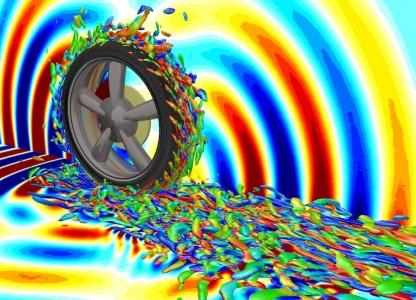 Aerodynamische und akustische Strömungsverhältnisse eines sich drehenden Reifens sichtbar gemacht