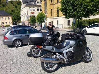 Motorradtour Thüringen 2014 mit der Triumph Tiger und Dirks fetter BMW (Joghurt Becher :-)